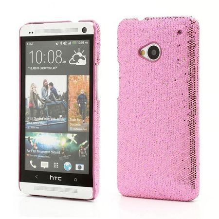 HTC One Glitzerndes Hart Plastik Case - pink