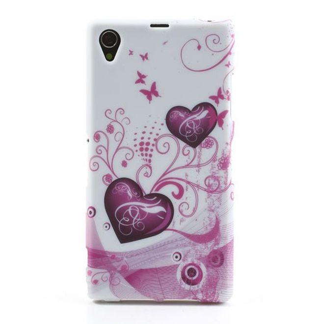 Sony Xperia Z1 Elastisches Case mit Herzen und Schmetterlingen