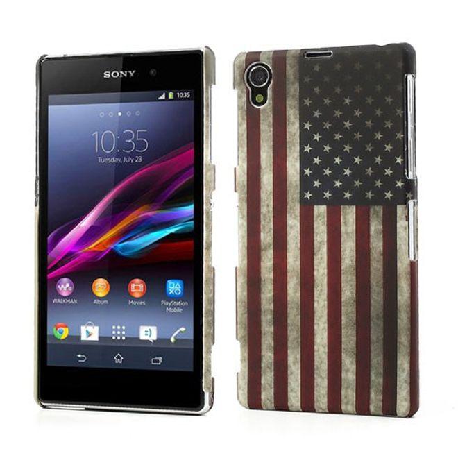 Sony Xperia Z1 USA Flagge Retro Style Plastik Case