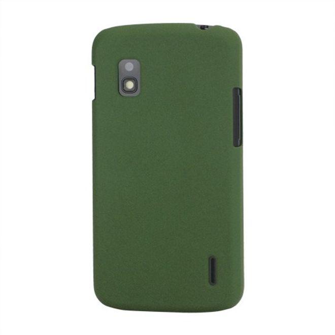 hans LG Google Nexus 4 Plastik Case mit edlem sandartigen Bezug - grün