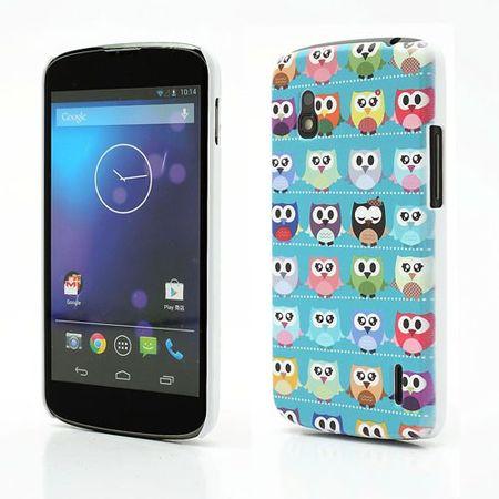 LG Google Nexus 4 Plastik Case mit Eulenmuster - blauer Hintergrund
