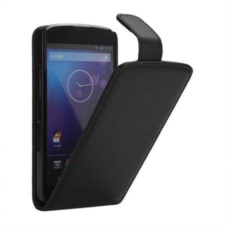 LG Google Nexus 4 Magnetisches Leder Flip Case - schwarz