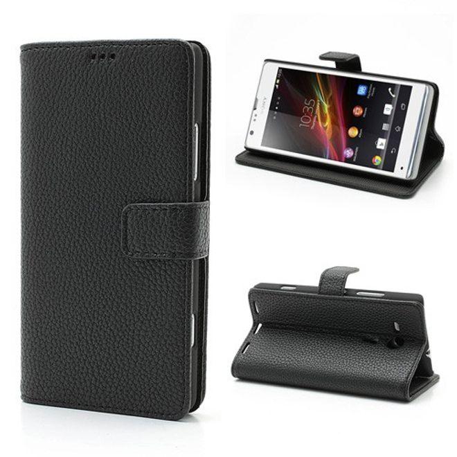 hans Sony Xperia SP klassisches Leder Case mit Litchimuster - schwarz