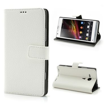 Sony Xperia SP klassisches Leder Case mit Litchimuster - weiss