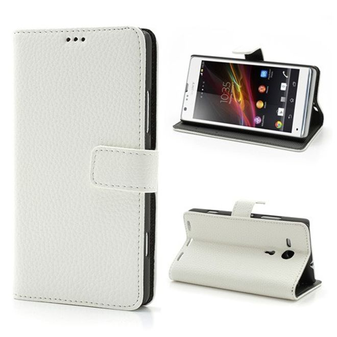 MU Classic Sony Xperia SP klassisches Leder Case mit Litchimuster - weiss