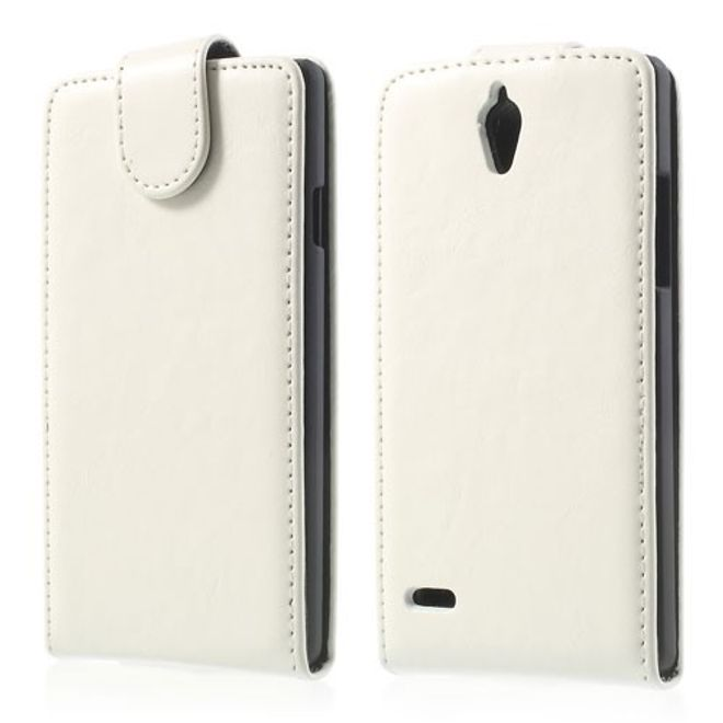 MU Classic Huawei Ascend G700 Magnetisches Leder Case - weiss