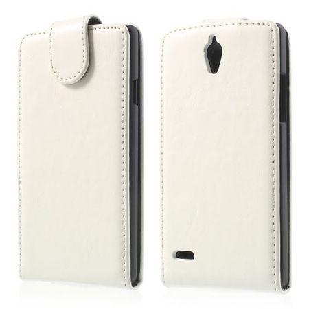 Huawei Ascend G700 Magnetisches Leder Case - weiss