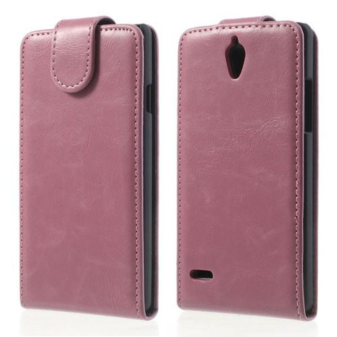 MU Classic Huawei Ascend G700 Magnetisches Leder Case - rosa