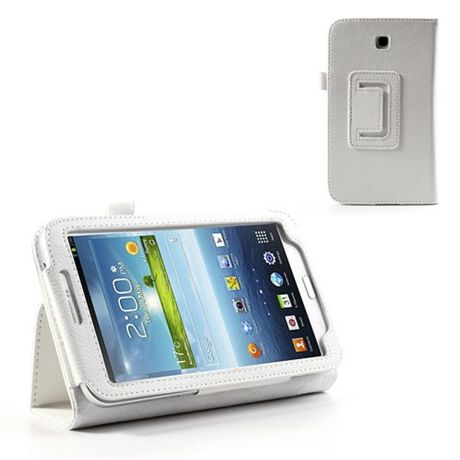 Samsung Galaxy Tab 3 7.0 Litchi-style Leder Case mit Standfunktion - weiss