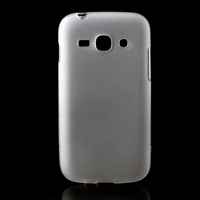 Samsung Galaxy Ace 3 Elastisches, mattes Plastik Case - transparent/weiss