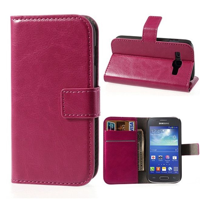 Samsung Galaxy Ace 3 Crazy Horse Style Leder Case mit Standfunktion - rosa