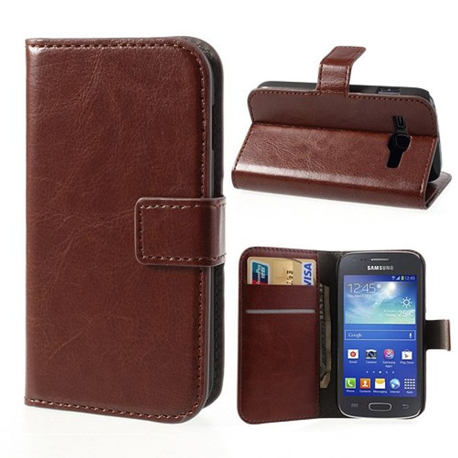 MU Classic Samsung Galaxy Ace 3 Crazy Horse Style Leder Case mit Standfunktion - braun