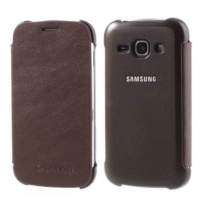 Samsung Galaxy Ace 3 Leder Flip Case - kaffeefarben