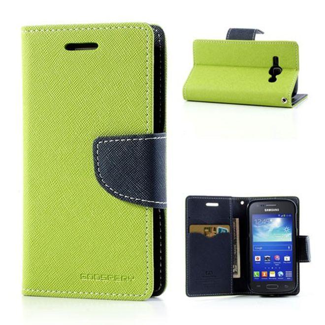 Samsung Galaxy Ace 3 Leder und elastisches Plastik Combo Case - dunkelblau / grün
