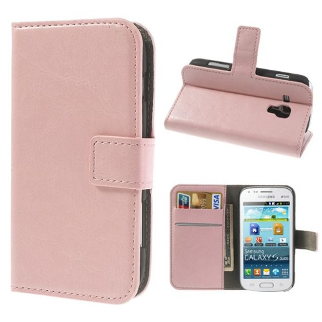 MU Classic Samsung Galaxy Ace 2 Modisches Leder Case mit Standfunktion - pink