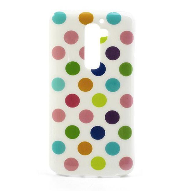MU Style LG Optimus G2 Elastisches Plastik Case mit farbigen Punkten - weisser Hintergrund