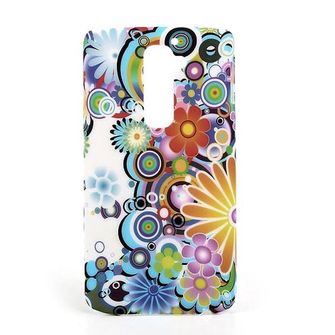 LG Optimus G2 Elastisches Plastik Case mit Blumenmuster