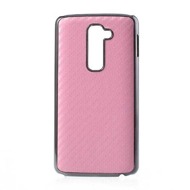 LG Optimus G2 Karbonfasern Hart Plastik Case mit Leder-Look - pink