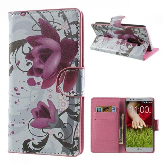 MU Style LG Optimus G2 Leder Case mit Lotus Blüten Muster