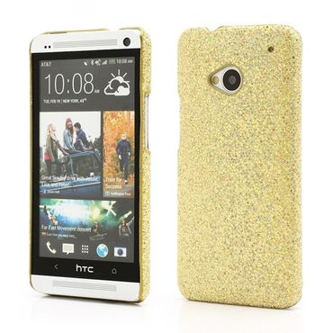 HTC One Glitzerndes Hart Plastik Case - goldig