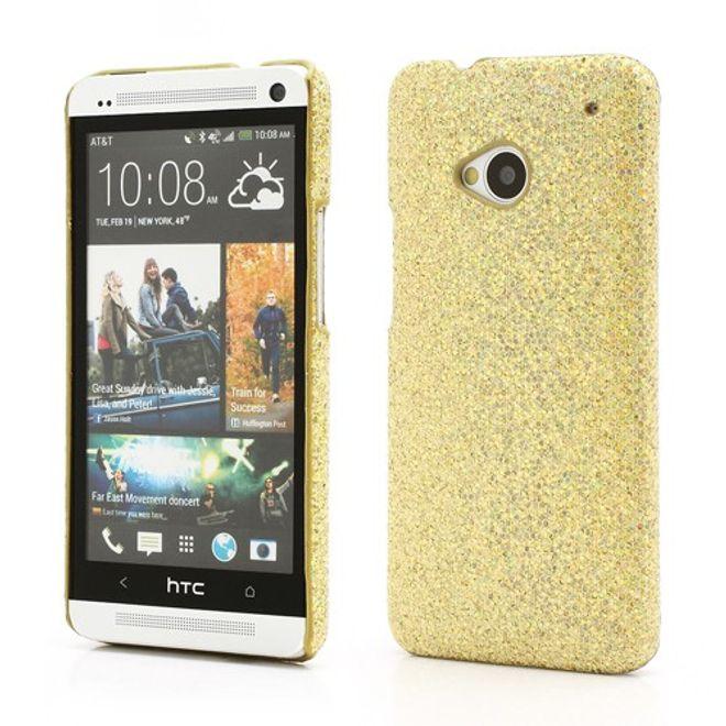 HTC One Glitzerndes Hart Plastik Case - goldig