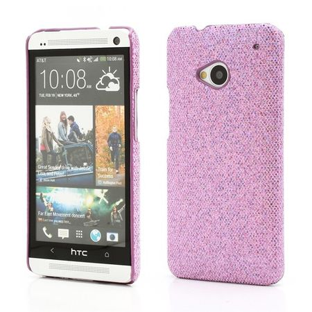 HTC One Glitzerndes Hart Plastik Case - hellpurpur