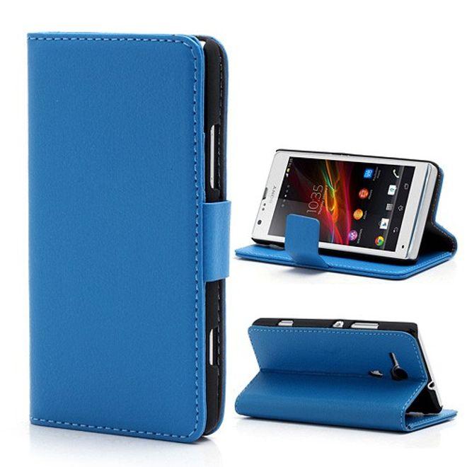 Sony Xperia SP Leder Case mit Standfunktion und Litchimuster - blau