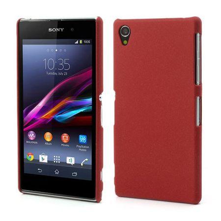 Sony Xperia Z1 Hart Plastik Case mit sandartiger Oberfläche - rot