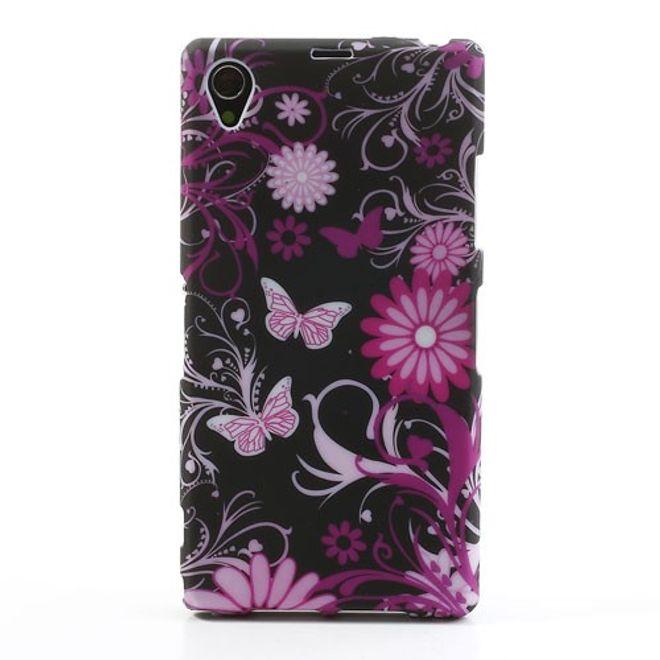 Sony Xperia Z1 Elastisches Plastik Case mit Schmetterlingen - schwarz