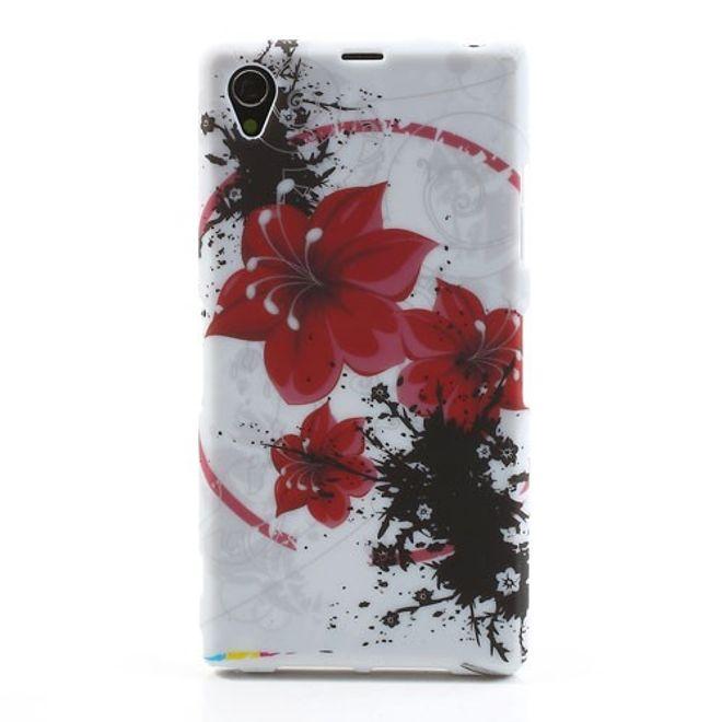 MU Style Sony Xperia Z1 Elastisches Plastik Case mit roten Blumen