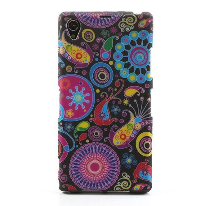 Sony Xperia Z1 Elastisches Plastik Case mit farbenfrohem Muster