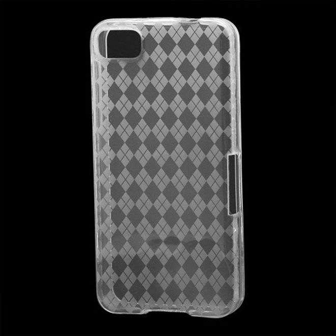 MU Classic BlackBerry Z10 Elastisches Plastik Case mit Gittermuster - transparent