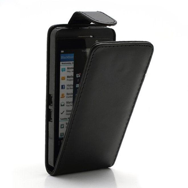 BlackBerry Z10 Klassisches Leder Flip Case - schwarz
