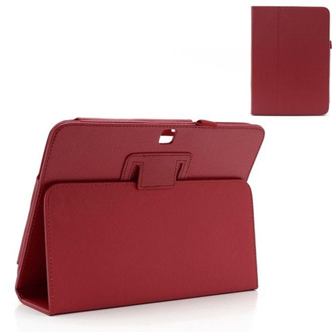 MU Style Samsung Galaxy Tab 3 10.1 Leder Case mit Litchimuster und Standfunktion - rot