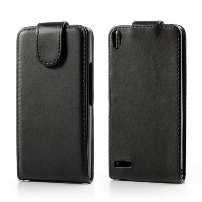 Huawei Ascend P6 Leder Flip Case - schwarz