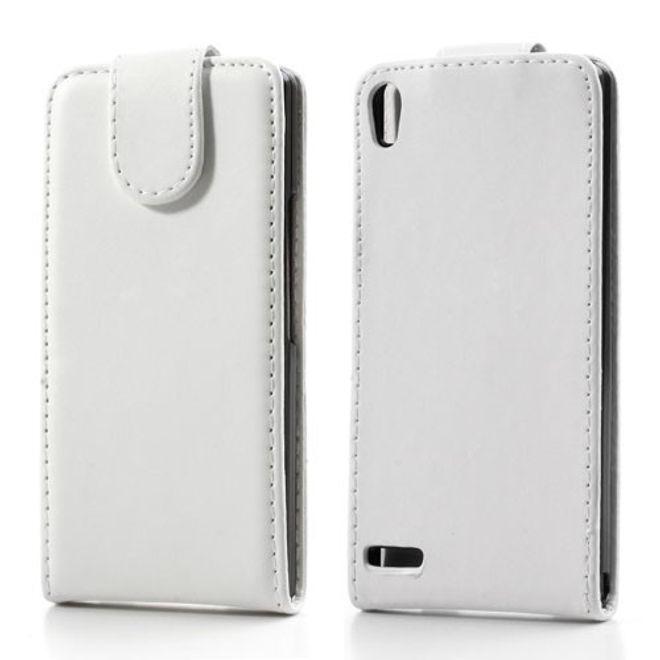 MU Classic Huawei Ascend P6 Leder Flip Case - weiss