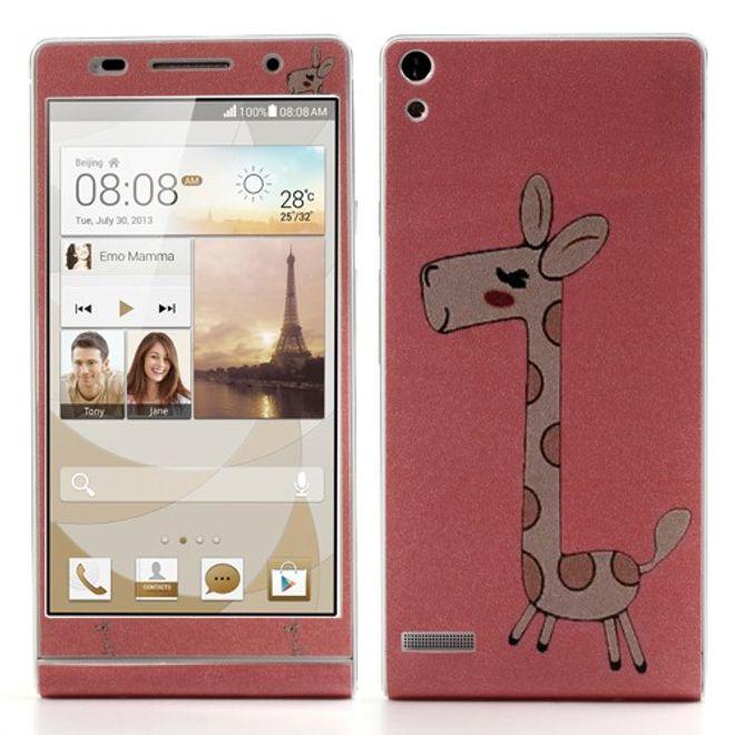 MU Style Huawei Ascend P6 Vorder-und Rückseiten Sticker mit Giraffe - pink