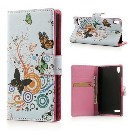 Huawei Ascend P6 Leder Case mit Schmetterlingen
