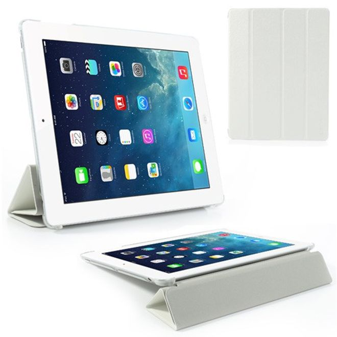 MU Classic iPad 2/3/4 Faltbares Leder Case mit Standfunktion - weiss