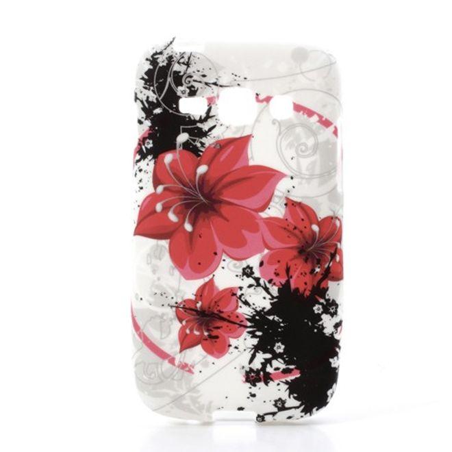 MU Style Samsung Galaxy Ace 3 Elastisches Plastik Case mit roten Blumen