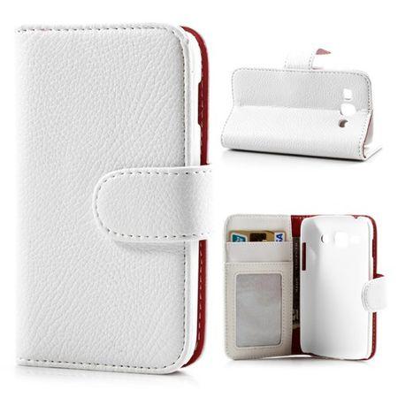 Samsung Galaxy Ace 3 Leder Cover mit Litchimusterung und Standfunktion - weiss