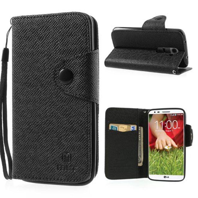 MU Classic LG Optimus G2 Magnetisches Leder Case mit Kreditkartenschlitz - schwarz