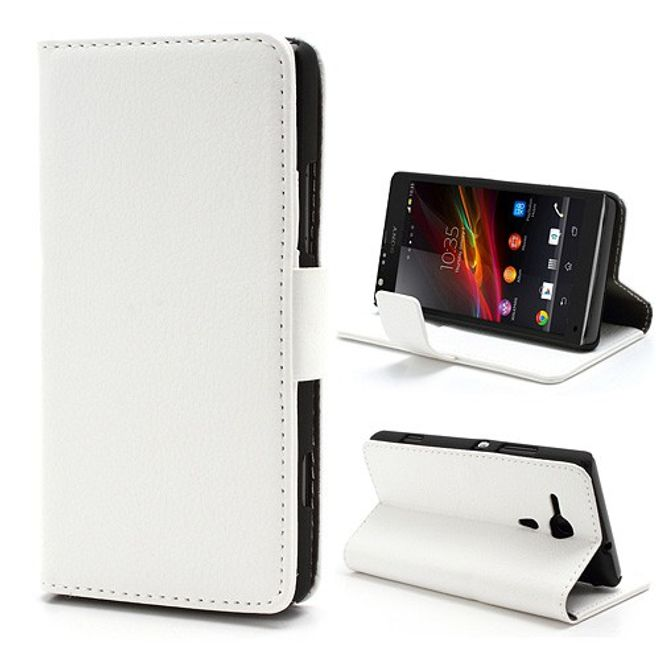 MU Classic Sony Xperia SP Leder Case mit Standfunktion und Litchimuster - weiss
