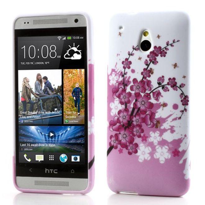 HTC One Mini Elastisches Plastik Case mit pinken Blumen