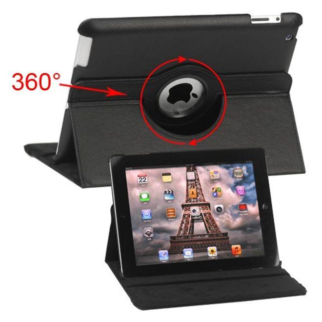 iPad 2/3/4 Leder Case mit 360° Rotationsmöglichkeit - schwarz