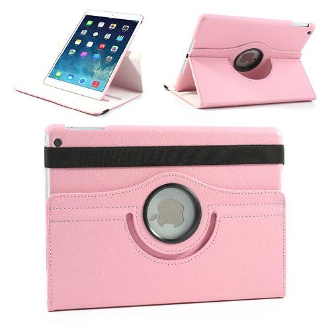 iPad Air Leder Smart Case 360° drehbar mit Litchimusterung und Standfunktion - pink