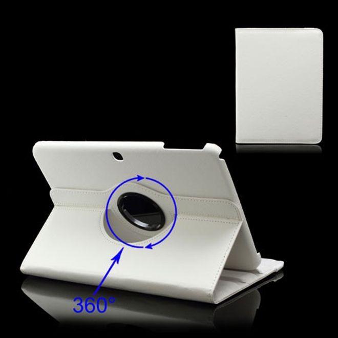 MU Classic Samsung Galaxy Tab 3 10.1 Leder Cover 360° rotierbar mit Litchimusterung - weiss
