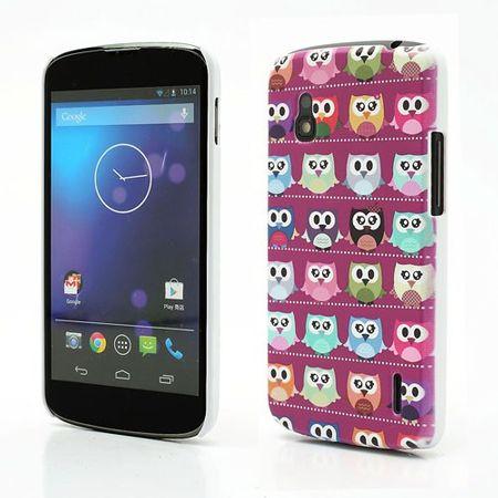LG Google Nexus 4 Hart Plastik Case mit vielen kleinen Eulen - purpur