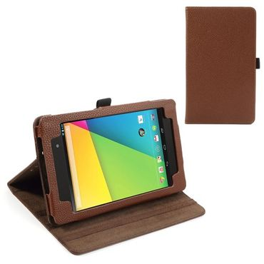 Asus Google Nexus 7 (2013 Version) Leder Case mit Litchimusterung - braun