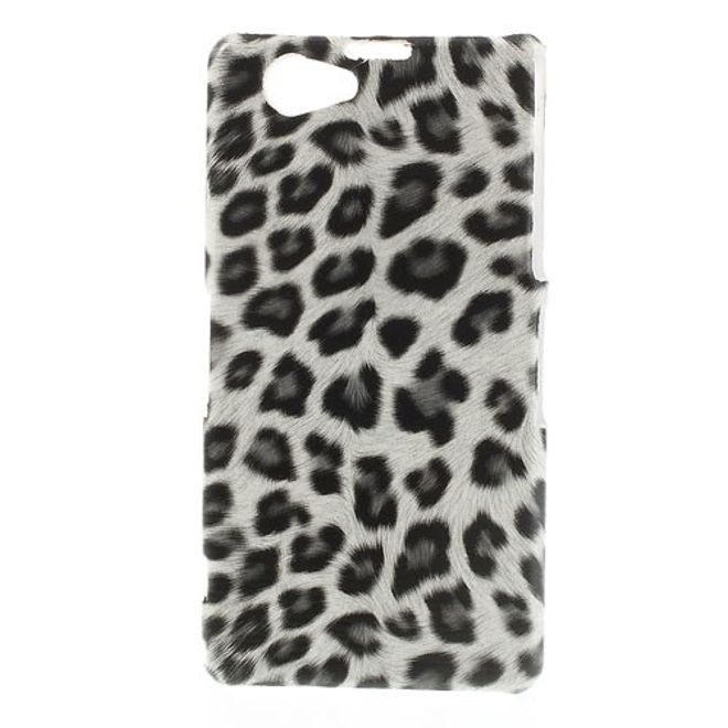 Sony Xperia Z1 Compact Trendiges Hart Plastik Case mit Leopardenmuster - grau